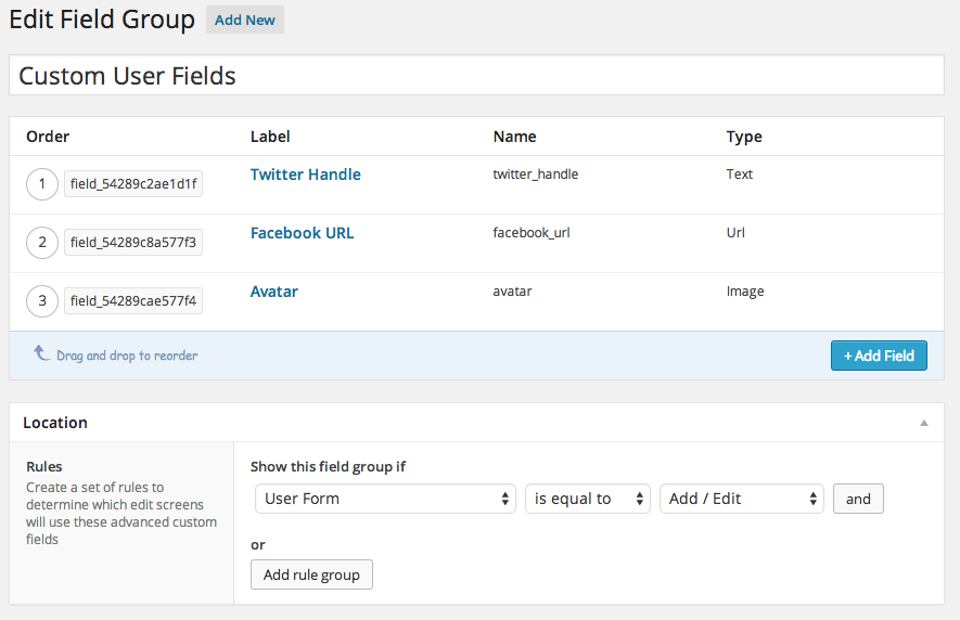 New User Fields for ACF