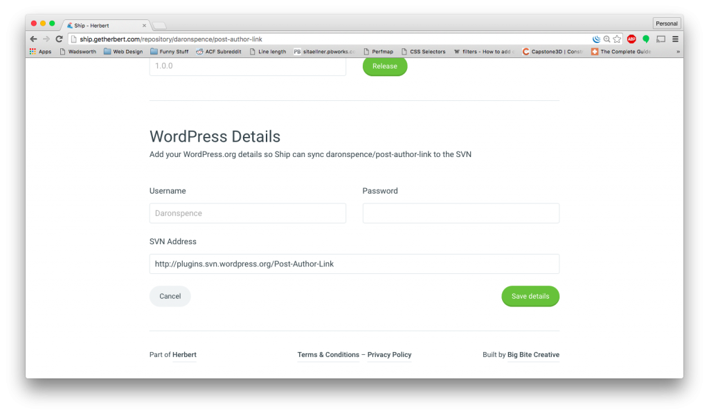 WordPress.org Account Details Form